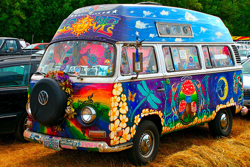Really Bright and Colorful Psychedelic Volkswagen Van